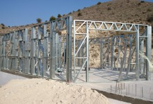 Construction of metal frame in Ayia Anna