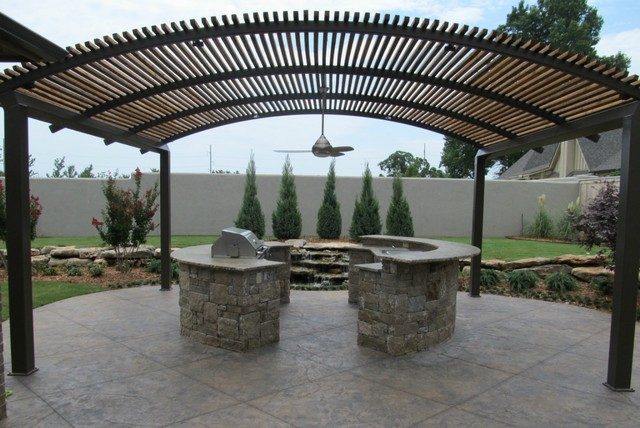 Metal frame pergolas in combination with wood by pelasgos for Metal frame pergola designs