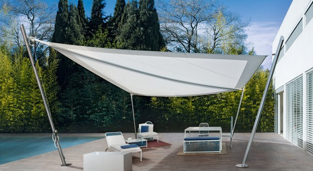 Modern sunshades with metal frame and tent with Pelasgos Homes