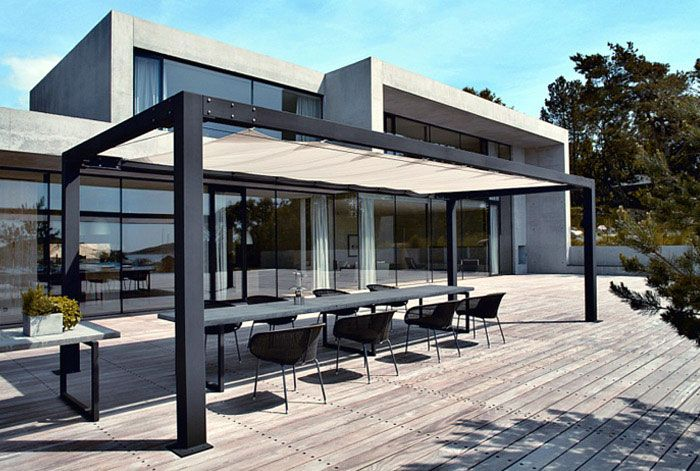Modern sunshades with metal frame and tent with pelasgos Metal frame home plans